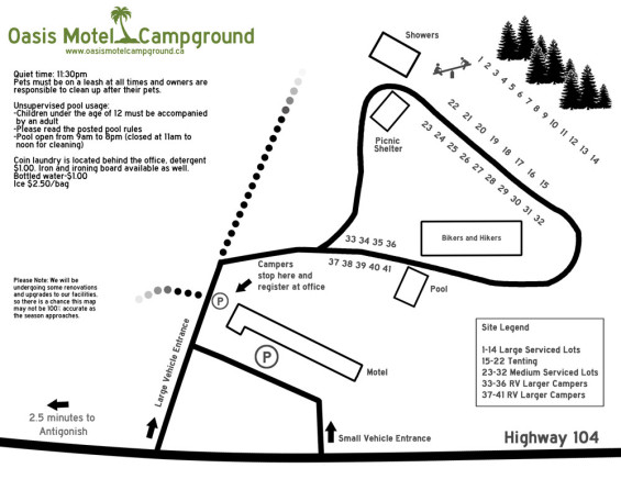 Oasis Motel and Campground: Site Map
